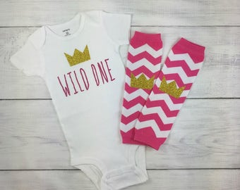 Wild 1 One 1st First Birthday Outfit Wild 1 Onesie Where The Wild Things Are Cake Smash Photo Prop Girl Pink Gold Crown Leggings Leg Warmers
