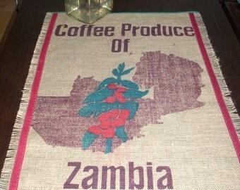 "Coffee bag table runner ""Zambia"", 88 x 58 cm"