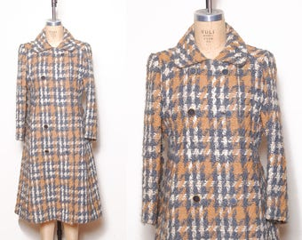 Vintage 60s houndstooth wool coat / checker double breasted coat / mohair boucle coat / Sycamore jacket