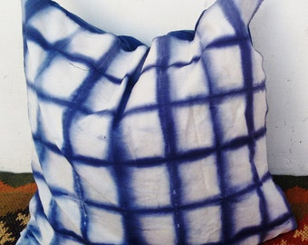 Indian squre shped indigo blue Shibori Tie And Dyed Sifory cushion cover Dye pillow piece 20 X 20 Inches.Shibory Dyed Cotton pillow