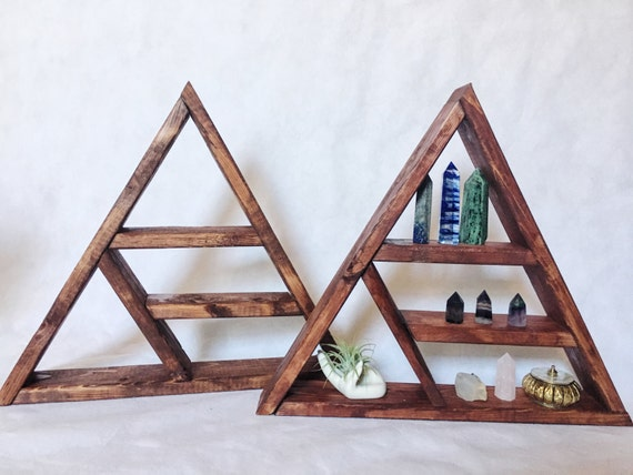 Handmade Wooden Triangle Shelf Boho Indie Crystal Triangle