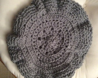 Crocheted grey beret hat