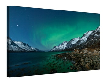Norway Aurora Borealis Northern Lights Snowy Mountain - Gallery Grade Canvas Wall Art