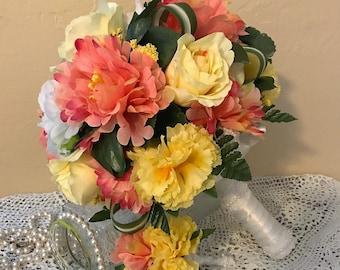 FREE SHIPPING Wedding Bouquet,Boutonniere, Bridesmaid Bouquet, Silk Flower Bouquet, Mixed Flower Bouquet, Yellow Bouquet, Beach Bouquet