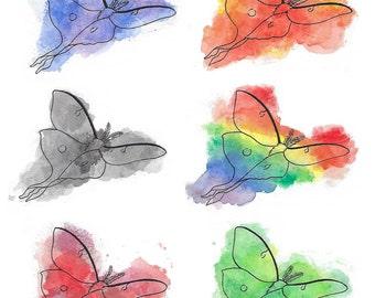 Luna Moths Watercolor Print