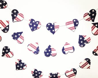 Heart shaped, patriotic, Stars and Stripes garland  - 4th July, Memorial Day decor