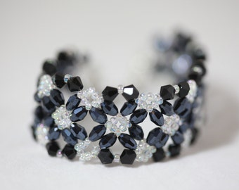 Black flower nova beaded bracelet, beaded wrap bracelet