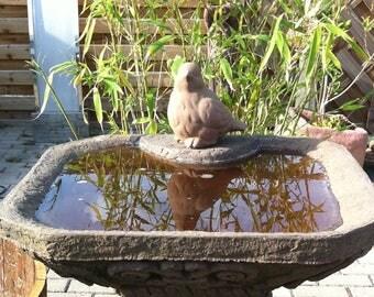 D 13 art sandstone drinking bird bath square with bird