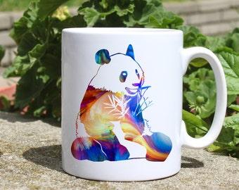 Panda mug - Panda bear mug - Colorful printed mug - Tee mug - Coffee Mug - Gift Idea