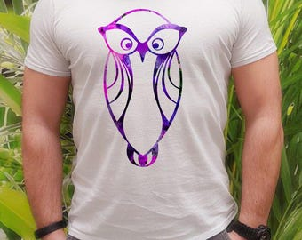 Big eye t-shirt - Owl tee - Fashion men's apparel - Colorful printed tee - Gift Idea