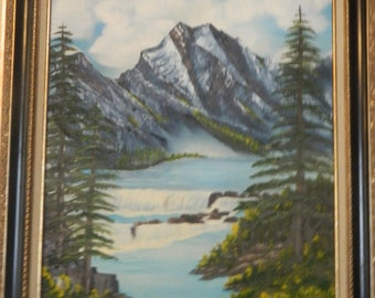 Oil painting landscape,River Water Fall,