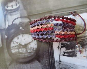 multi strand macrame bracelet, boho style, multicolor, hippie, unique, handmade