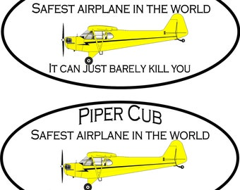 2 Piper Cub Safest Airplane in the World decal   FREE SHIPPING