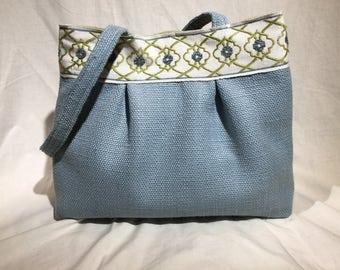 Blue Canvas Shoulder Bag Purse Handbag