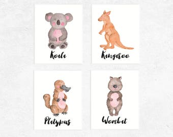 Australian Animals Art Printables | Set of 4 | Koala | Platypus | Kangaroo | Wombat | Nursery Prints | Watercolor | Baby Art