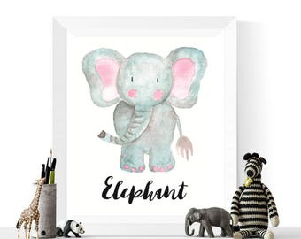 Elephant Printable | Elephant Watercolor Printable | Elephants | Watercolour |  Safari Animal Art | | Nursery | Elephant Art