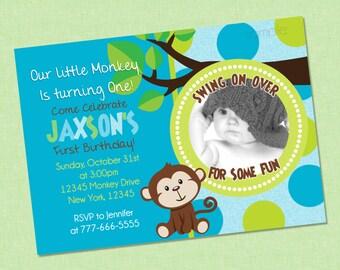 Cute Monkey First Birthday Photo Invitation