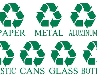 Recycle Symbol,  Recycle Sign Decal, Recycle Sticker, Trash Can Decal, Recycle Paper Decal, Recycle Cans, Recycle Bottles, Recycling Bin