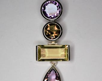 Pendentife Silver 925 set with Garnet, lemone quartz, smoky quartz, Amethyst