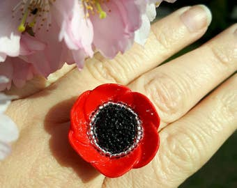 Floppy Poppy polymer clay ring