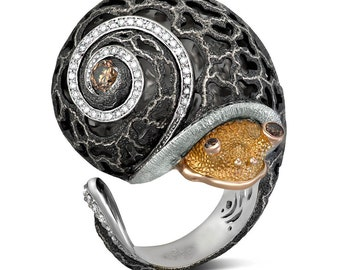 Diamond Silver Gold Codi The Snail Ring w Signature Open Work by Alex Soldier