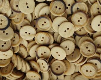Vintage Fake Wood Medium Buttons x 12 Faux Bois Plastic