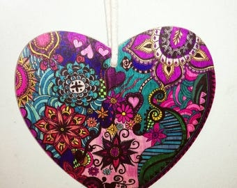 Colourful hand decorated hanging heart, shabby chic,  love gift, bridal gift, OOAK