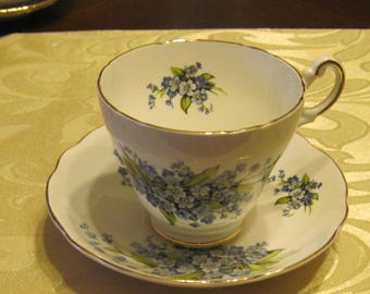 Regency Cup & Saucer - Blue Flowers - England