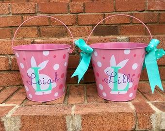 Easter Bucket Pail. Large metal Pail, Easter bucket, Easter Pail, monogram, spring, Easter