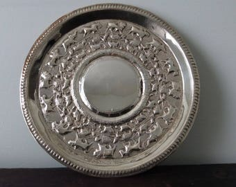 Hand Chased Indian Sterling Silver Platter / Asian / Chased / Tea Tray / Antique