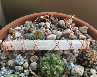 Copper wire wrapped selenite necklace