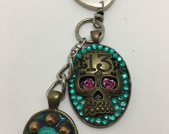 Day of the dead, Sugar Skull, Turquoise, rockabilly keychain