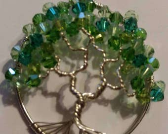 Handmade Tree of life pendant in multiple green colors ready for spring!