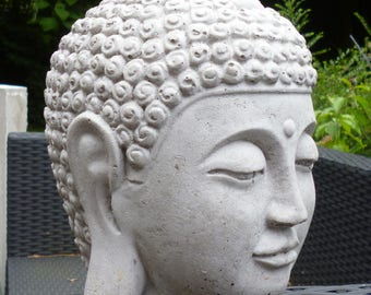 Novelty Monk-Buddha-head-sculpture-24 cm-Steinguss-frost-garden Figure grey Pierre reconstituée Concrete Garden Ornament Hormigón