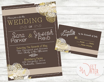 gold taupe mocha wedding invite wedding personalized invitation digital download printed invite - Fall Themed Wedding Invitations