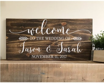 Welcome To The Wedding Of - wedding sign -wedding welcome sign- rustic wedding - farmhouse -wedding decor - save the date-bride and groom