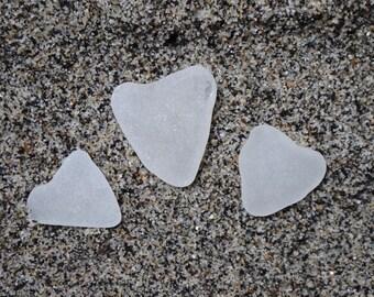 Three white Cornish seaglass sea glass beach glass hearts