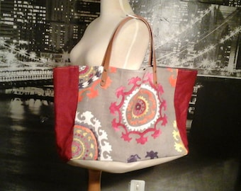 "Mexican tissue Tote gray and Red linen bag worn hand and shoulder ""Mexico rosso"""