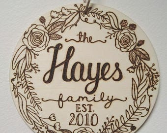 Personalised Woodburned Wood Family Sign // Family Name // Floral Wreath