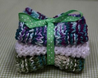 Knit Dish Cloths, White/Green/Blue Multi