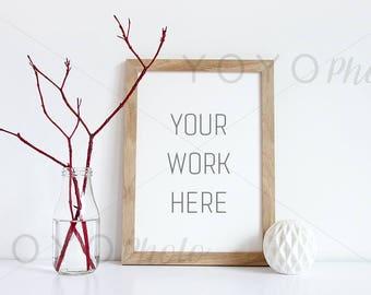 Frame Photo Empty, A4 Wood Frame Mockup, Frame With Smart Object, Menu Mockup, Wood Frame Empty, Printable Art, Styled Stock Photo