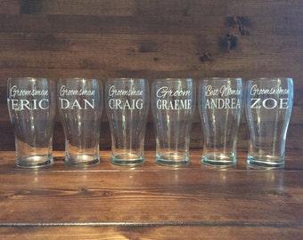 Groomsmen Beer Glasses, Beer Steins, Groomsmen Gifts, Groomsman, Bridal Party Glassware, Bridal Glasses - 1 GLASS PER ITEM