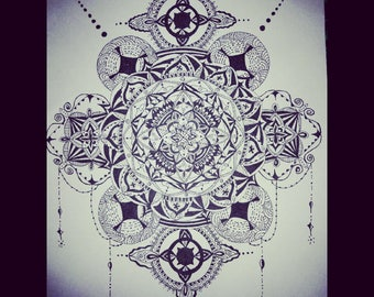 Black and white mandala original