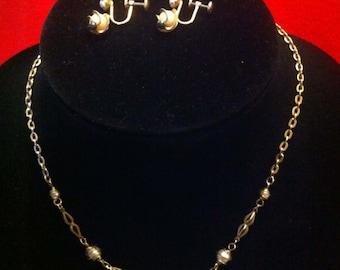 Vintage 12kt gold filled necklace & earring set. Designer Sarah Cove