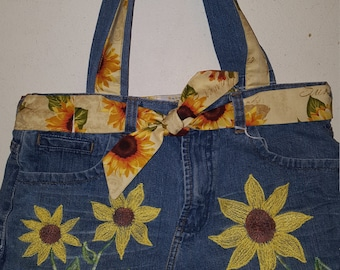 Sunflower Reclaimed Denim Tote