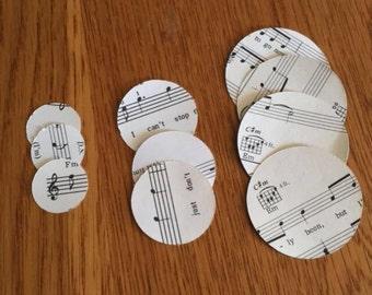 Dye Cut Out Circles/ Sheet Music/ Scrap Booking/ Card Making/ Mixed Media/ Paper Crafts/ Upcycling/ Black/ Music Notes/ Circles