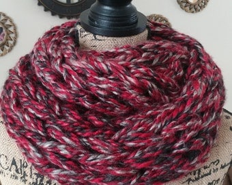 Red and Black Arm Knit Double Infinity Scarf/Cowl/Chunky Scarf