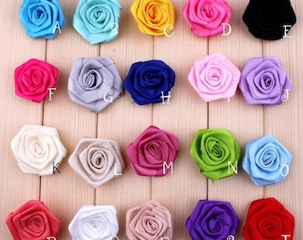 """1.6""""  New Arrived Fabric Rosset Flowers For Children Baby Girls Hair Clips Accessory Artificial Colorful Satin Flower For Headband"""