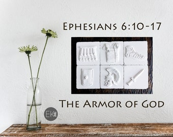 Ephesians 6:10-17 Christian gift, Easter gift, Christian wall art, Series of 6 Cast stone tiles on engineered wood Plaque - CT107