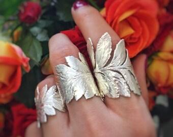 fern leaf in silver